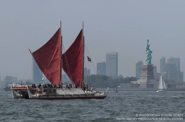 Thousands of people greeted the Hokulea crew when they arrived in New York City on Sunday.