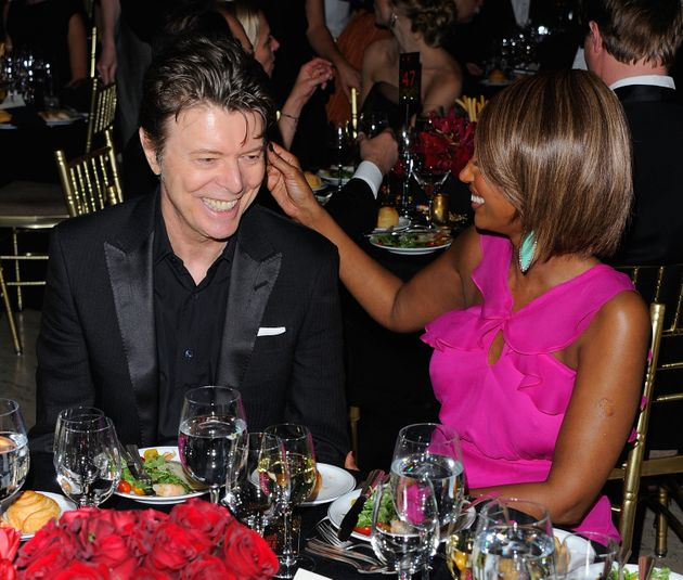 David Bowie and Iman at a charity gala in