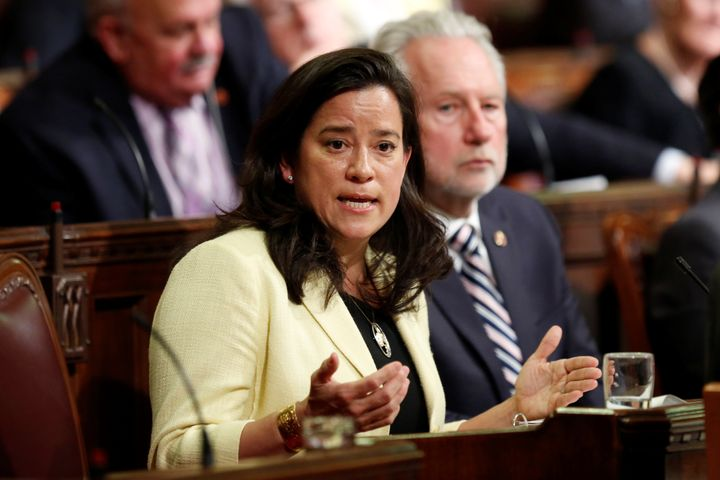 Canada's Justice Minister Jody Wilson-Raybould speaks about the medically-assisted suicide bill in the Senate chamber on Parl