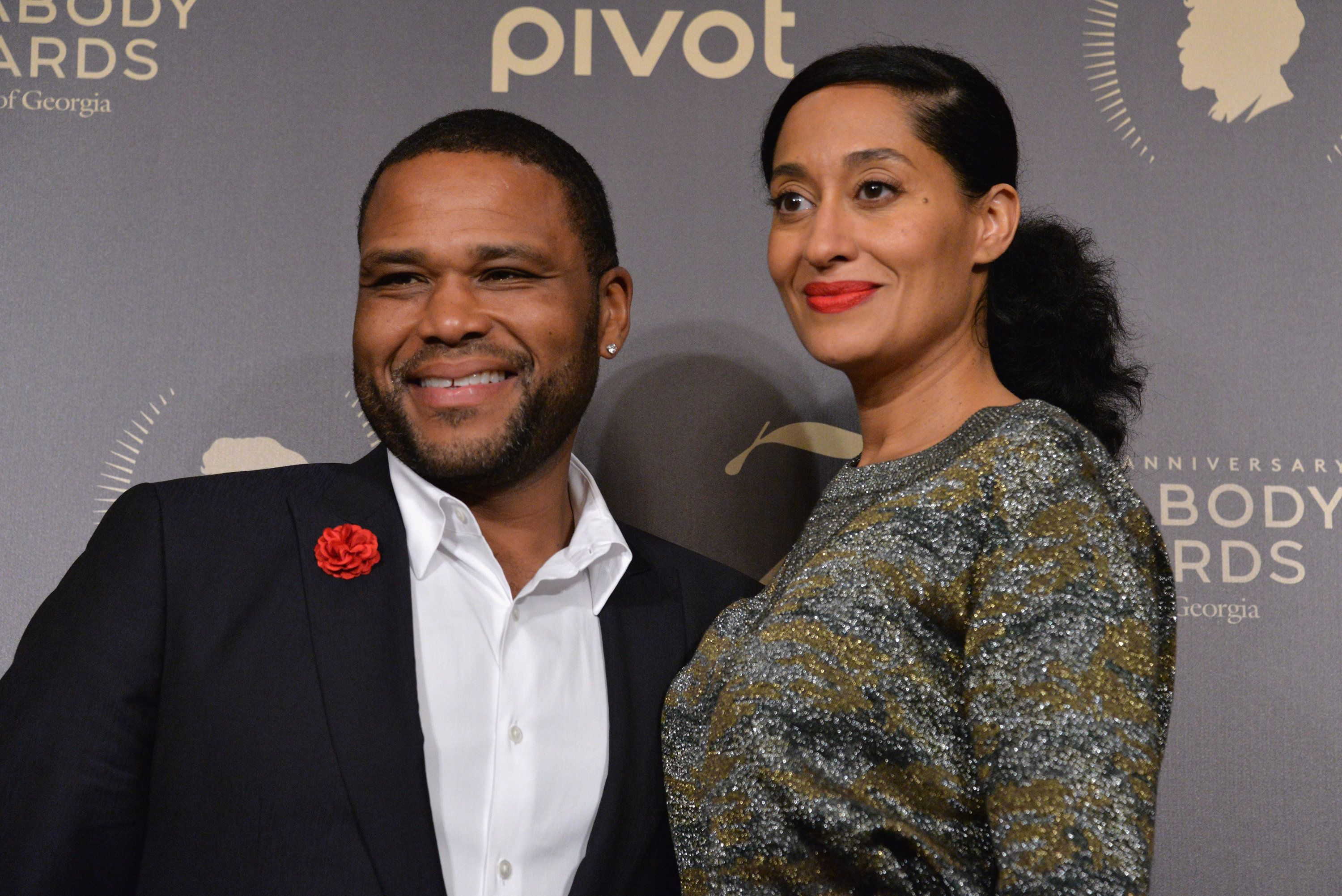 NEW YORK, NY - MAY 21:  Actors Anthony Anderson and Tracee Ellis Ross pose with award during The 75th Annual Peabody Awards Ceremony at Cipriani Wall Street on May 21, 2016 in New York City.  (Photo by Gary Gershoff/Getty Images for Peabody)