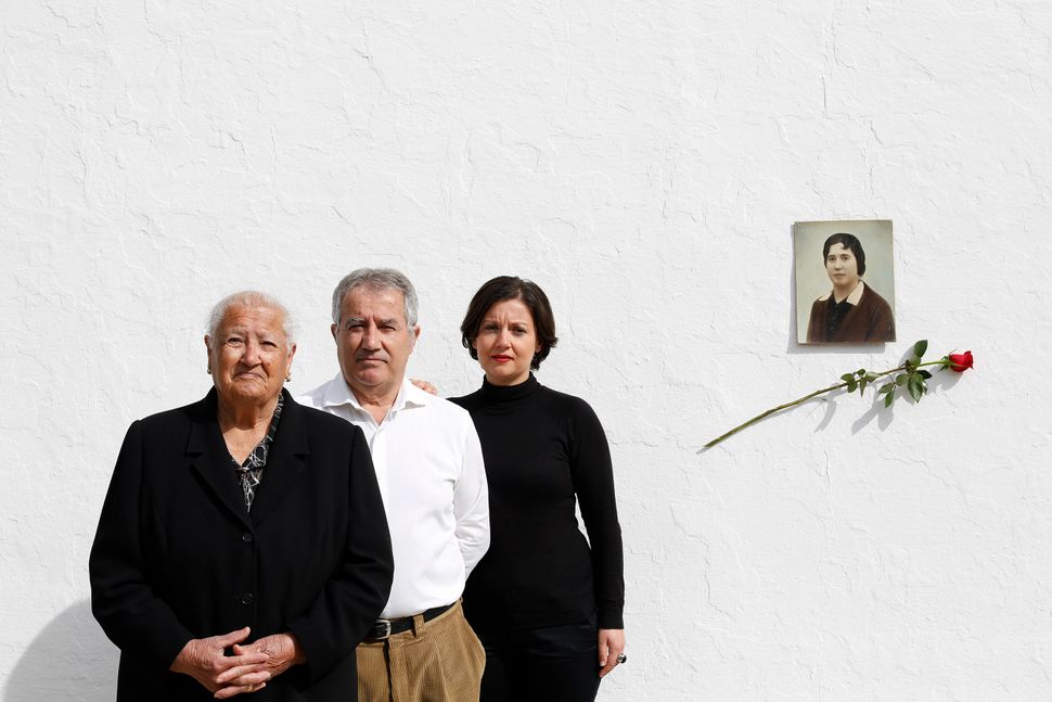 Pictured here are Antonia Macero Navarro, 83, Jose Maria Sanchez Macero, 65, and Maria Dolores Sanchez Sanchez, 33, daughter,