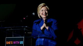 LOS ANGELES, CA - JUNE 06:  Democratic presidential candidate Hillary Clinton speaks onstage during the 'Hillary Clinton: She's With Us' concert at The Greek Theatre on June 6, 2016 in Los Angeles, California.  (Photo by Kevin Winter/Getty Images)