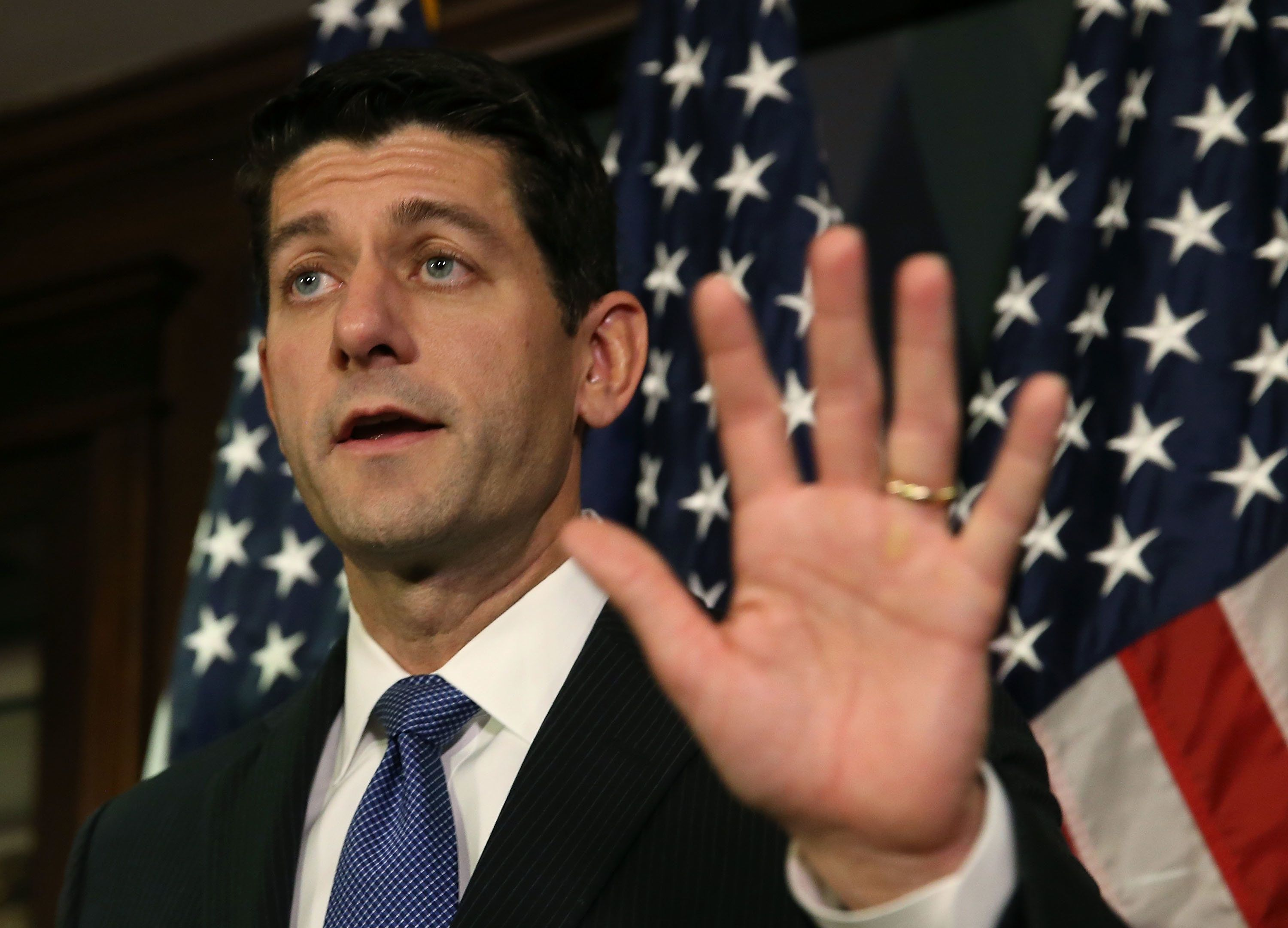 WASHINGTON, DC - NOVEMBER 03:  House Speaker Paul Ryan (R-WI) speaks to the media after a meeting with House Republicans on Capitol Hill November 3, 2015 in Washington, DC. Ryan joined with members of the House leadership to discuss legislation that is currently before Congress.  (Photo by Mark Wilson/Getty Images)