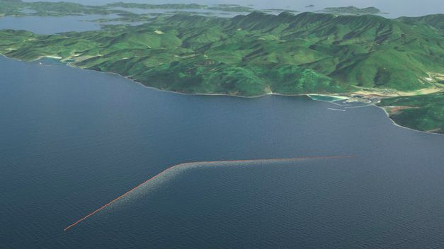 A mock-up of the Ocean Cleanup's ocean barrier that hopes to clean up the world's