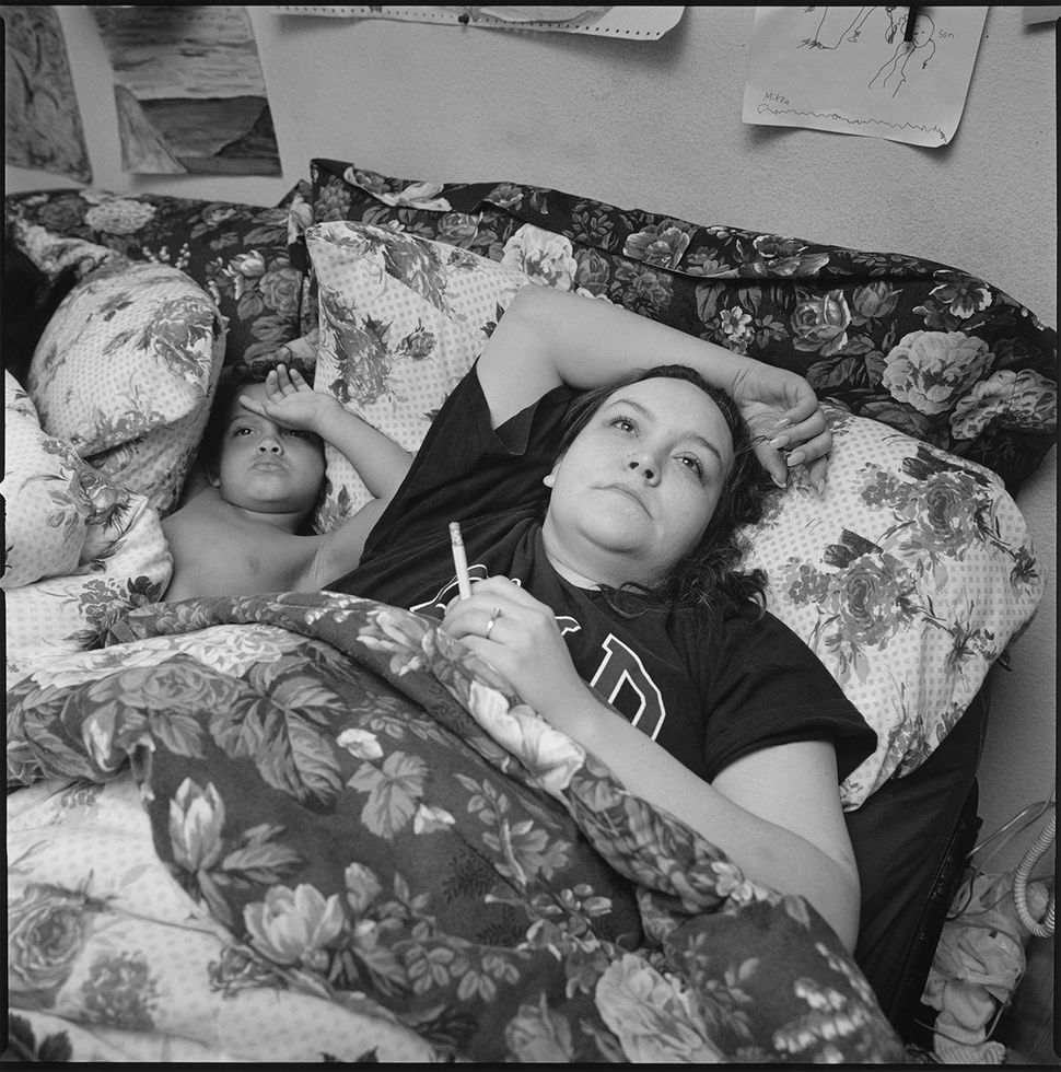 Tiny with Mikka smoking in bed, 1999