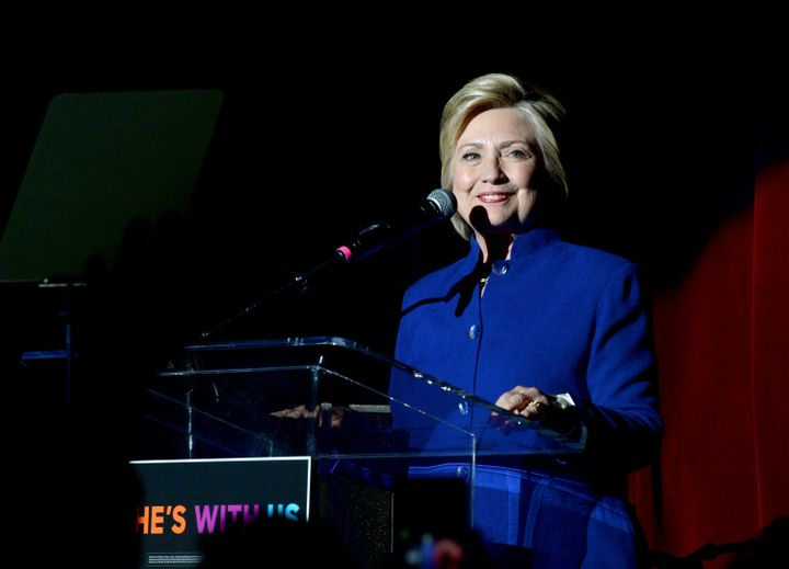 Hillary Clinton smilesat an event inLos Angeles on Monday. A win in South Dakota just adds to her margin of victo