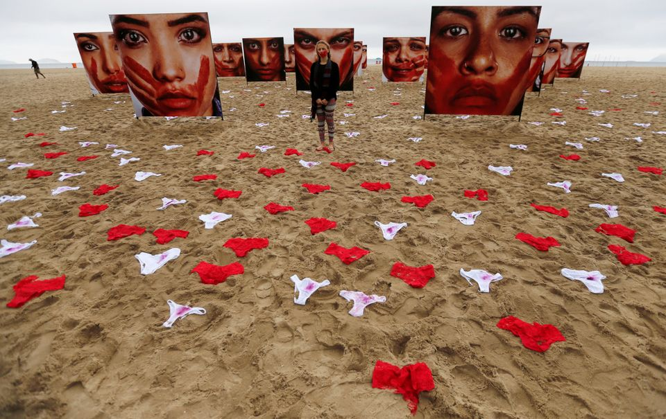 Activists laid out hundreds of women's panties on Rio de Janeiro's Copacabana beach to protest a culture...