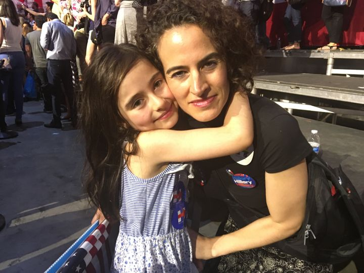 Lilev Katz, 7, pictured with her mother, Elissa Swift, can't believe there hasn't been a female president already.