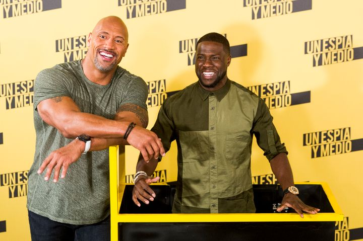 """Kevin Hart and Dwayne Johnson attend """"Central Intelligence"""" photo call at Villamagna Hotel on June 7, 2016 in Madrid, Spain."""