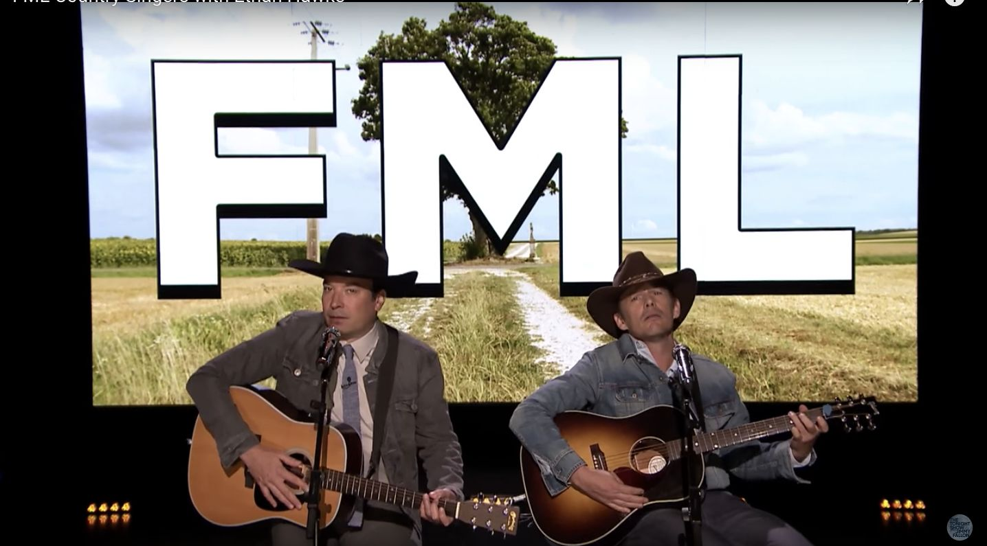Jimmy Fallon and Ethan Hawke turn FML complaints into country songs.