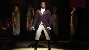 NEW YORK, NY - FEBRUARY 15:  Actor Leslie Odom, Jr. performs on stage during 'Hamilton' GRAMMY performance for The 58th GRAMMY Awards at Richard Rodgers Theater on February 15, 2016 in New York City.  (Photo by Theo Wargo/Getty Images)