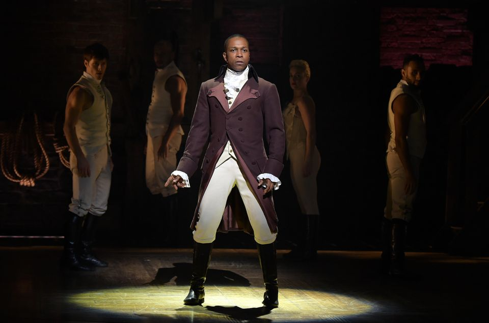 NEW YORK, NY - FEBRUARY 15:  Actor Leslie Odom, Jr. performs on stage during 'Hamilton' GRAMMY performance for The 58th GRAMM