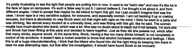 An excerpt from Leslie Rasmussen's letter to the court defending Brock