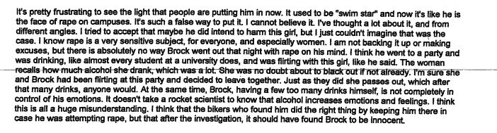 An excerpt from Leslie Rasmussen's letter to the court defending Brock Turner.