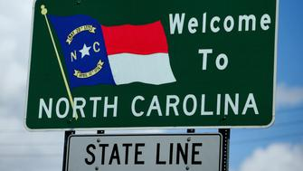 Welcome to North Carolina sign at the South Carolina state line along State Route 41.