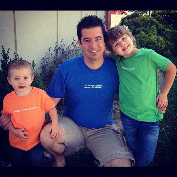 Beau Coffron with two of his three children.