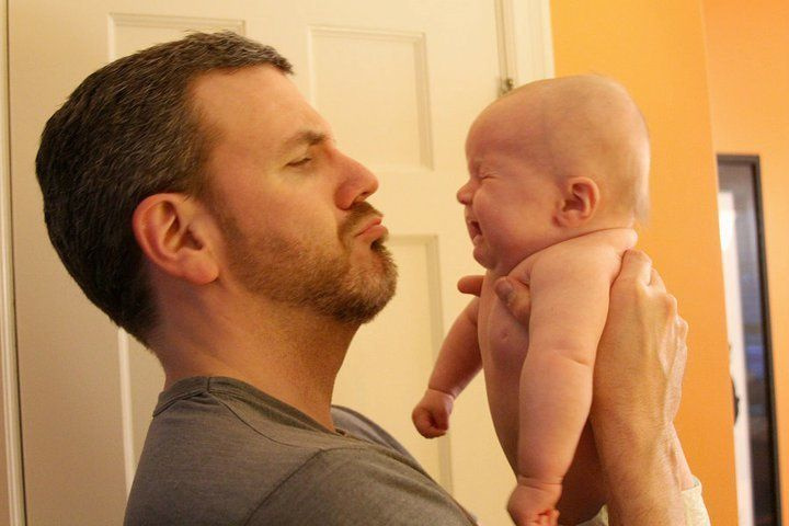 """Brian Gordon with his daughter Phoebe in what he says """"sums up most of [his] early parenting moments."""""""