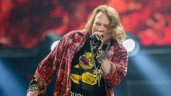 LONDON, ENGLAND - JUNE 04:  Axl Rose performs with AC/DC during the band's Rock Or Bust World Tour at the first ever concert at the Queen Elizabeth Olympic Stadium at Olympic Park on June 4, 2016 in London, England.  (Photo by Neil Lupin/Redferns)