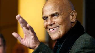 """Singer Harry Belafonte waves during a photocall to promote the movie """"Sing Your Song"""" at the 61st Berlinale International Film Festival in Berlin February 12, 2011.    REUTERS/Christian Charisius (GERMANY  - Tags: ENTERTAINMENT)"""