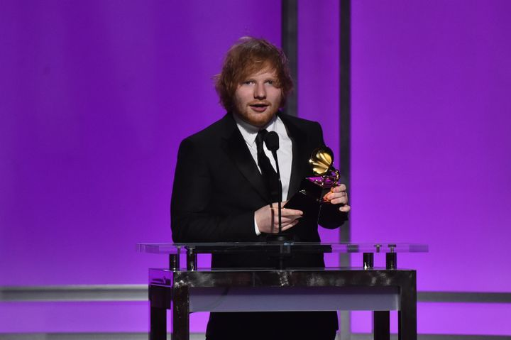Ed Sheeran, winner of Best Pop Solo Performance for 'Thinking Out Loud', accepts award onstage at The 58th GRAMMY Awards on F