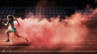 female athlete running in red smoke on stadium