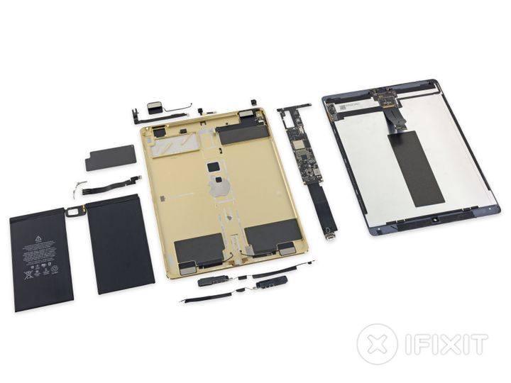 "A photo of a disassembled iPad Pro, used with permission from <a href=""https://www.ifixit.com/Teardown/iPad+Pro+12.9-Inch+Tea"