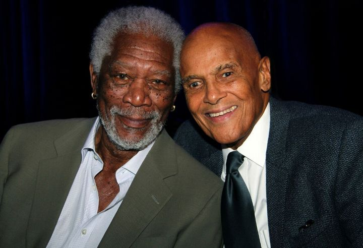 Morgan Freeman and Harry Belafonte pose for a picture at the Children's Health Fund benefit in New York.