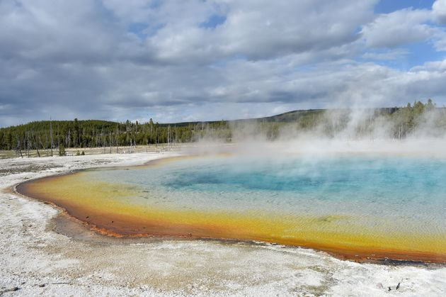 A view of a hot spring at the Upper Geyser Basin at Yellowstone National