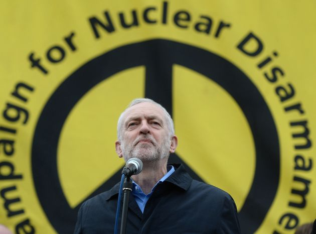 Labour leader Jeremy Corbyn, address protesters at a Stop Trident protest rally in Trafalgar