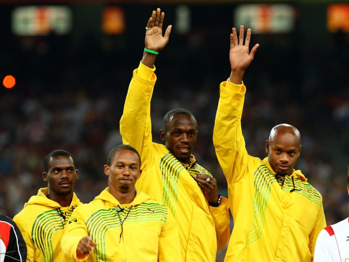 Nesta Carter, pictured left when the Jamaican team received its gold medals for winning the 4 X 100 meter relay at the Beijin