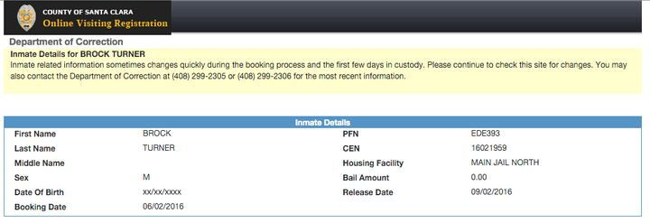 Booking information for Turner shows his scheduled release date is Sept. 2.