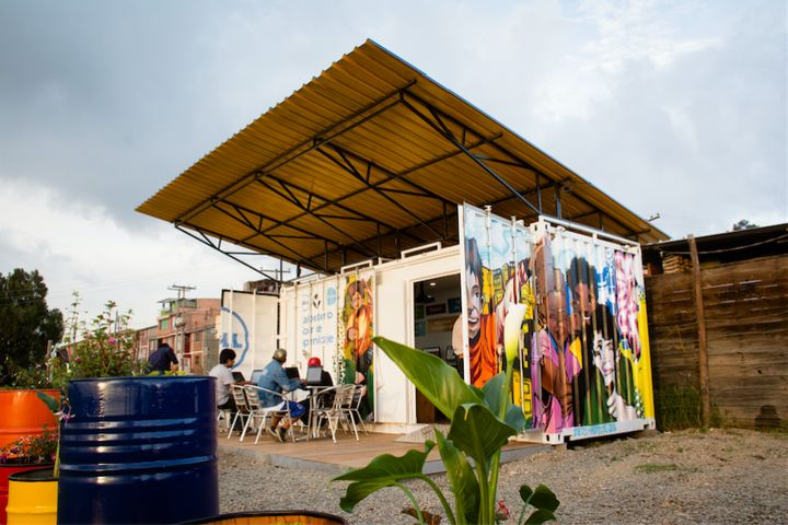 "A Zubabox dubbed the""Dell Solar Learning Lab"" in Cazuca, a suburb of Bogota, Colombia."