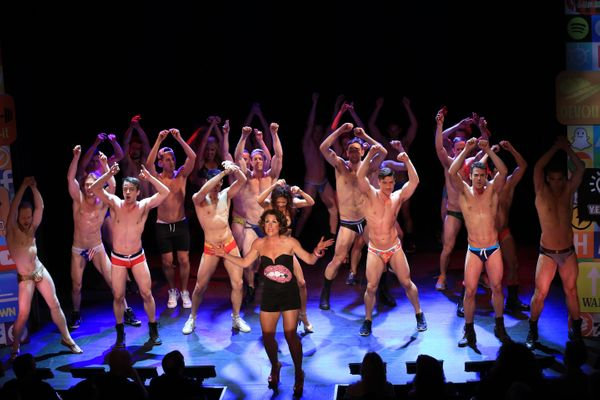 Marya Grandy and the company of Broadway Bares Fire Island
