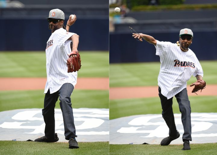 Snoop Dogg delivered a crooked first pitch at Wednesday's Padres vs. Braves game.