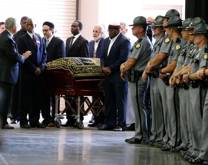 The coffin of late boxing champion Muhammad Ali arrives for a jenazah, an Islamic funeral prayer, in Louisville, Kentucky, U.