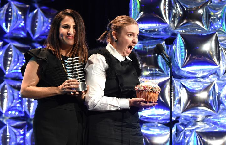An exuberantLena Dunham and Jenni Konner appear at the 20th Annual Webby Awards in New York City.