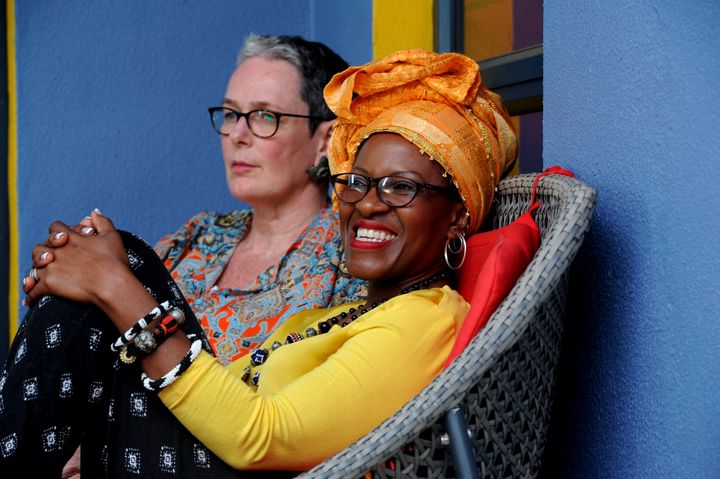 The daughter of Archbishop Emeritus Tutu, Reverend Mpho Tutu and her wife, Professor Marceline Furth, during an interview on