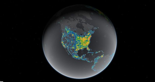 Light pollution now blots out the Milky Way for 8 in 10 Americans. Bright areas in this map show where...