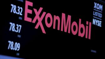 "The logo of Exxon Mobil Corporation is shown on a monitor above the floor of the New York Stock Exchange in New York, December 30, 2015. Standard & Poor's Ratings Services said on April 26, 2016, it had cut Exxon Mobil Corp's corporate credit rating to ""AA+"" from ""AAA,"" citing the impact of low oil prices. REUTERS/Lucas Jackson/File Photo"