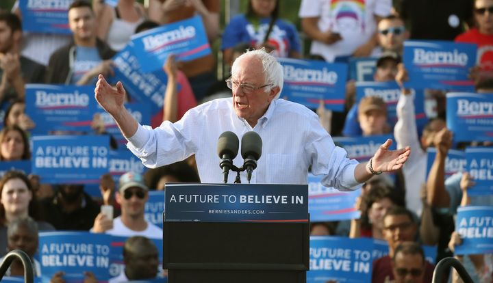 Democratic presidential candidate Sen. Bernie Sanders (I-Vt.), speaks during a campaign rally in Washington, D.C.
