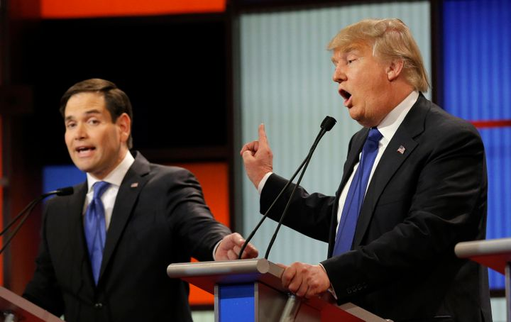 Sen. Marco Rubio (R-Fla.) and business man Donald Trump spoke at the Republican presidential debate in Detroit, Mic