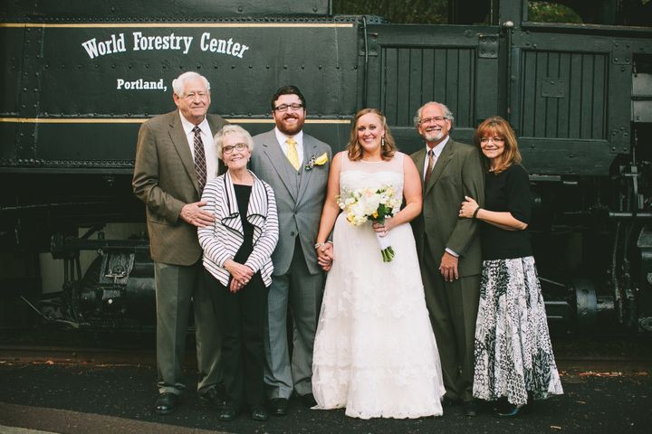 Ariane with her grandparents, husband, dad number two and her stepmom at her wedding in 2014.