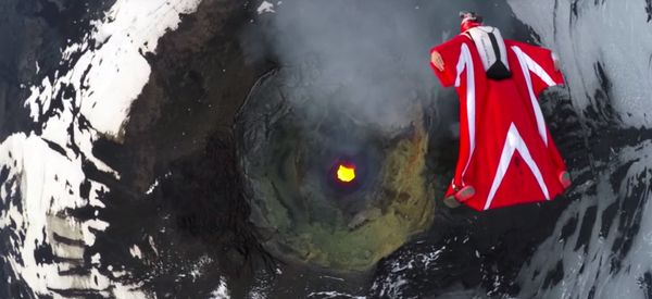 Watch This Fearless Stuntwoman Fly Over An Active Volcano