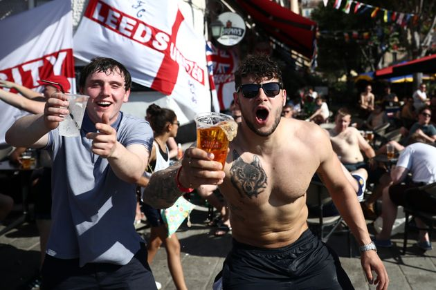 England fans drinking in Marseille before the
