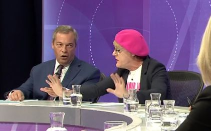 An angry Farage and Izzard were locked in a heated