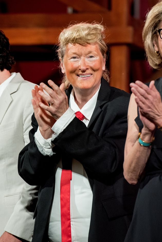 Meryl Streep performs during the 2016 Public Theater Gala at Delacorte Theater on June 6, 2016 in New...