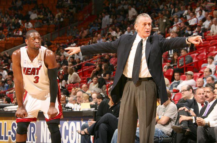 Dwyane Wade and Miami Heat coach Pat Riley
