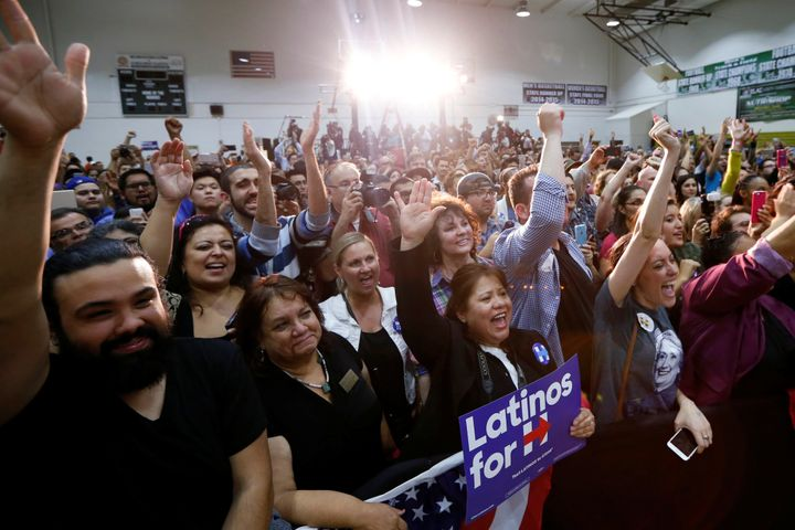 Supporters cheer as Democratic presidential candidate Hillary Clinton speaks on Cinco de Mayo in Los Angeles.