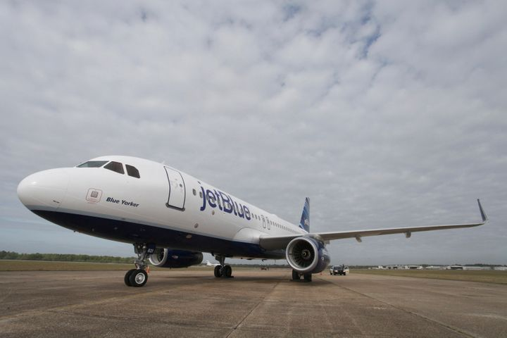 A JetBlue Airbus A320 air plane is pictured on the tarmac at a ground breaking ceremony for the first Airbus U.S. assembly pl