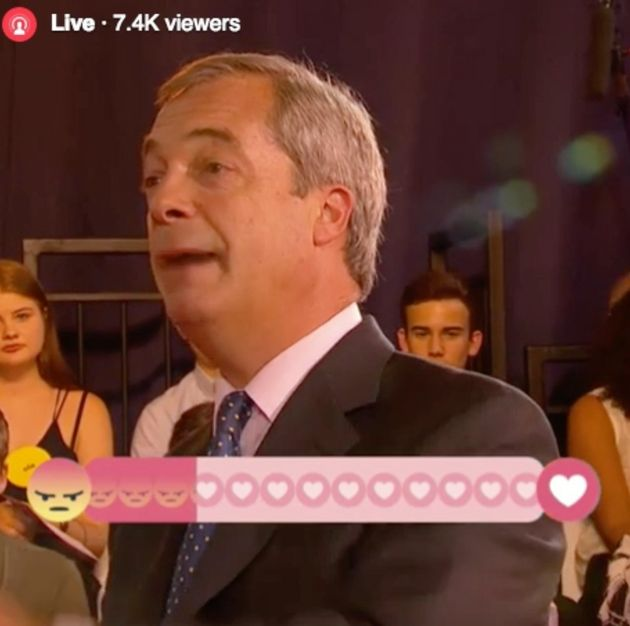 Nigel Farage's comments provoked anger from Buzzfeed's live Facebook audience on